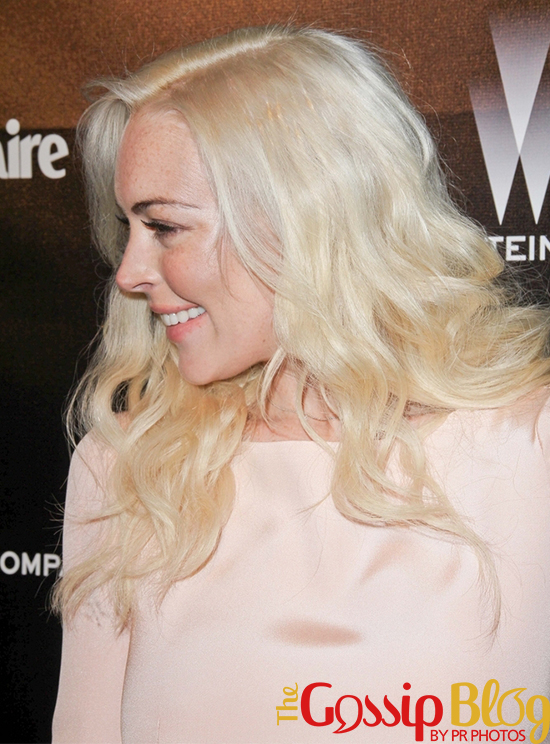 Lindsay Lohan at Golden Globes Weinstein Company Afterparty