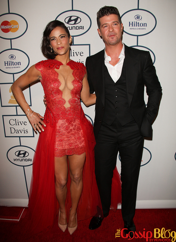 Paula Patton, Robin Thicke 2014 Grammy Awards Pre-Party
