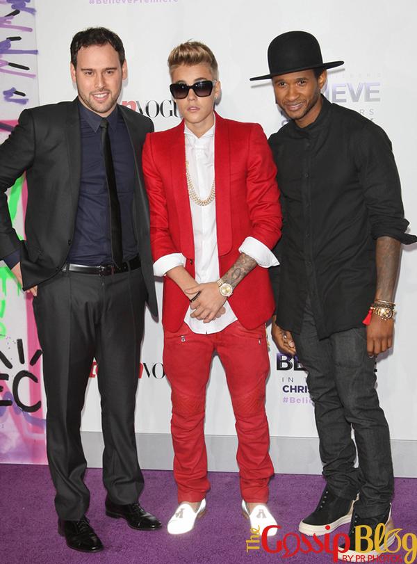 Scooter Braun, Justin Bieber, Usher at 'Believe' Premiere