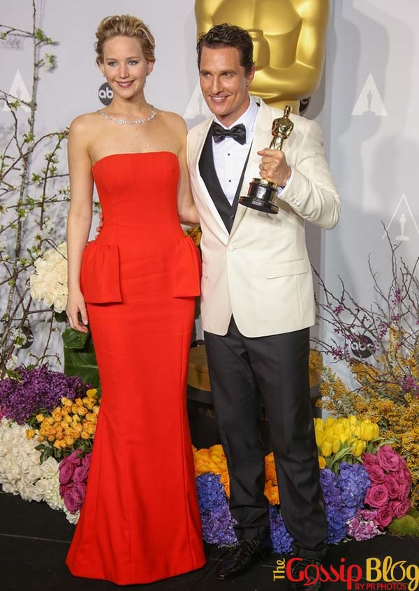 Jennifer Lawrence, Matthew McConaughey, 2014 Academy Awards