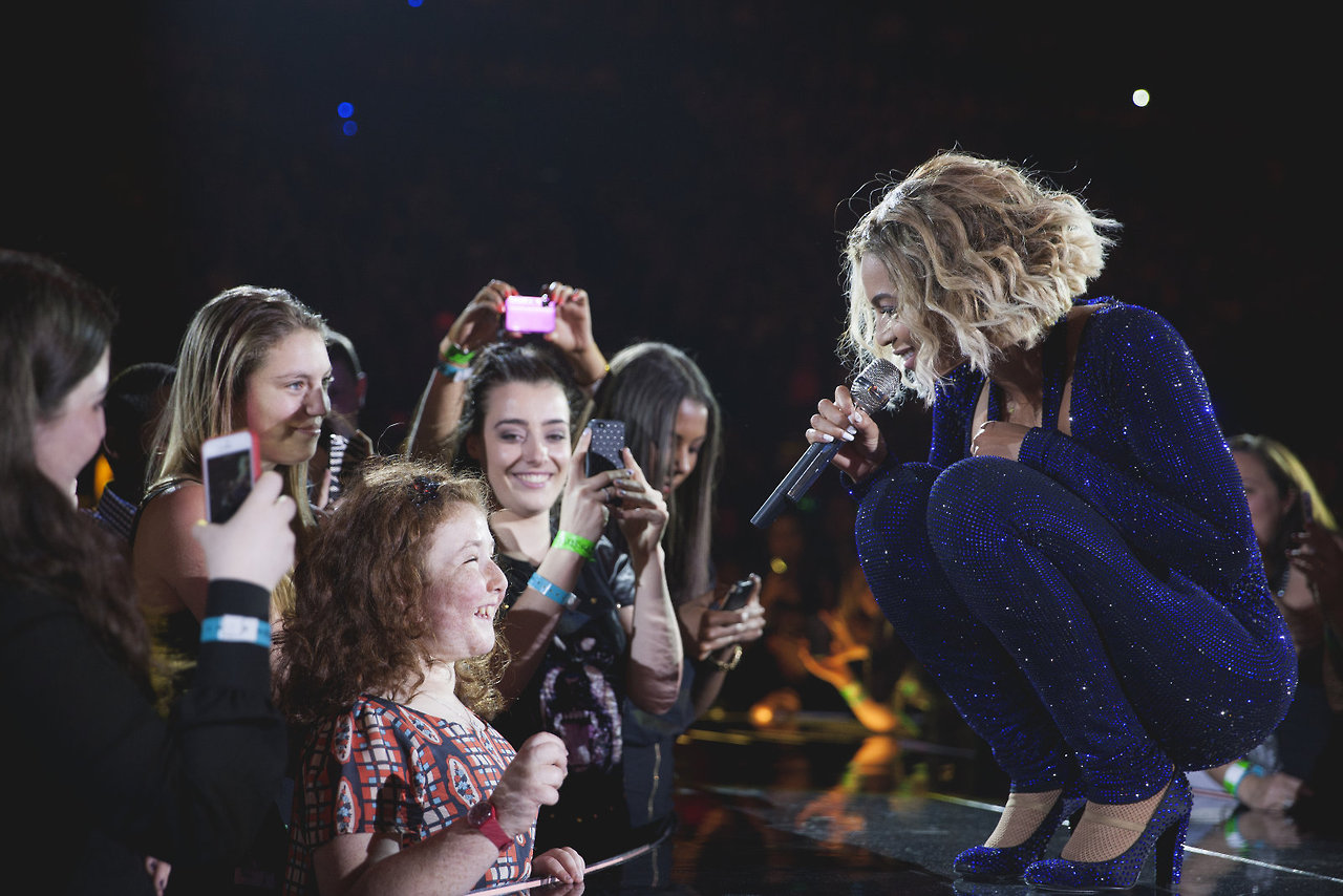 Beyonce and blind fan during Perth concert