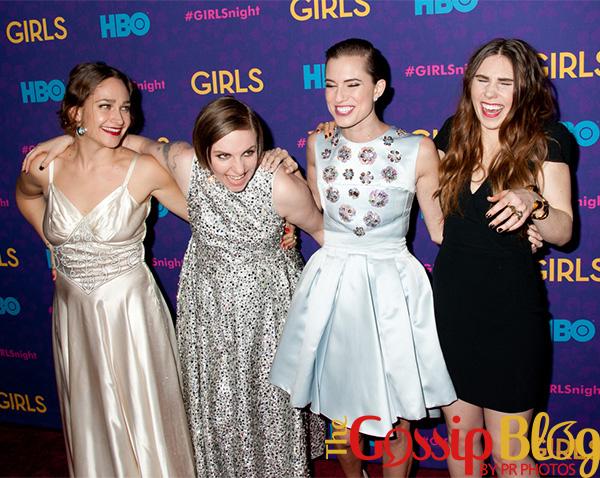 Jemima Kirke, Lena Dunham, Allison Williams, and Zosia Mamet at Girls season 3 premiere