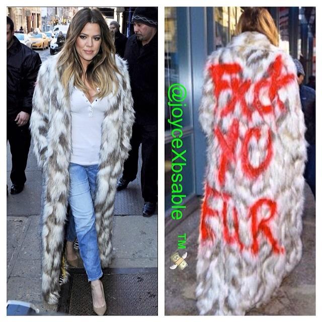 khloe kardashian faux fur