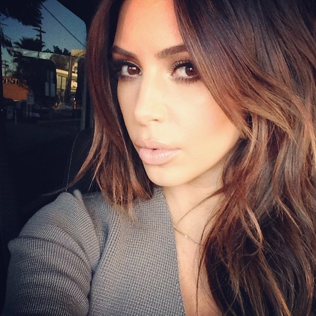 kim kardashian brunette hair