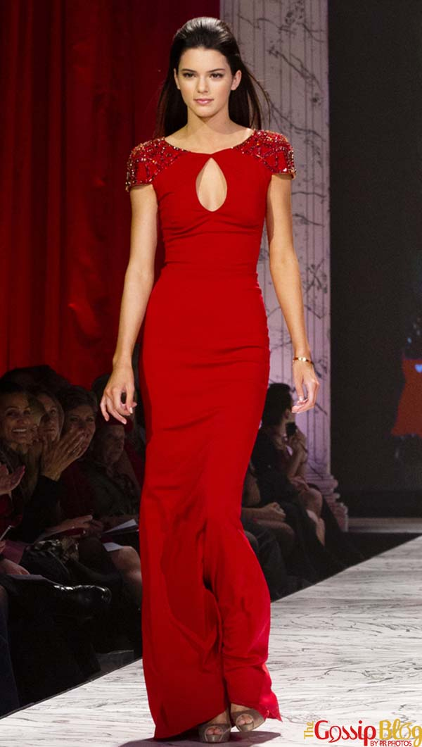 Kendall Jenner modeling red dress