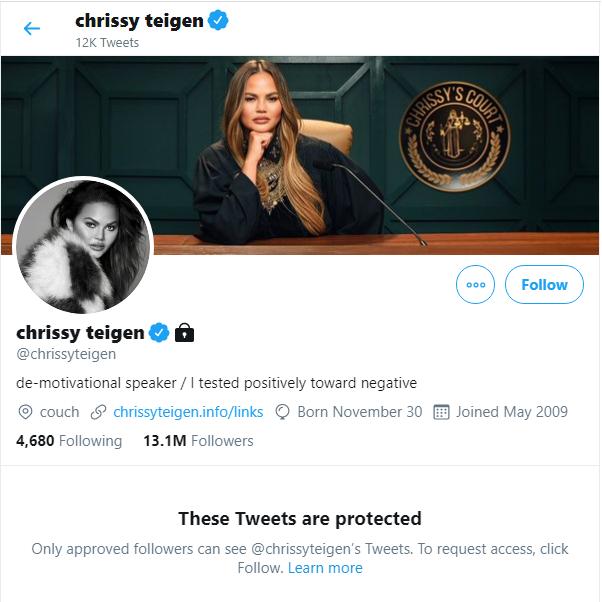 Chrissy Teigen twitter account